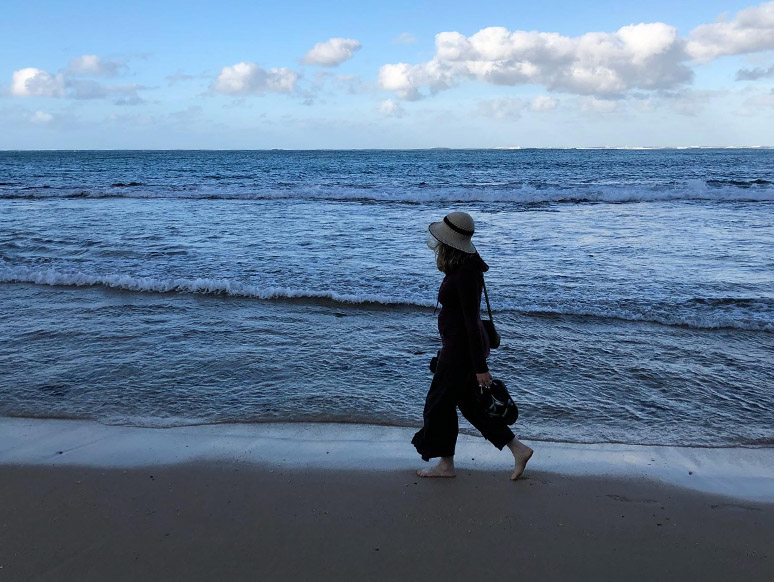 Acupuncturist Yasmin Spencer on the beach in Eureka, California